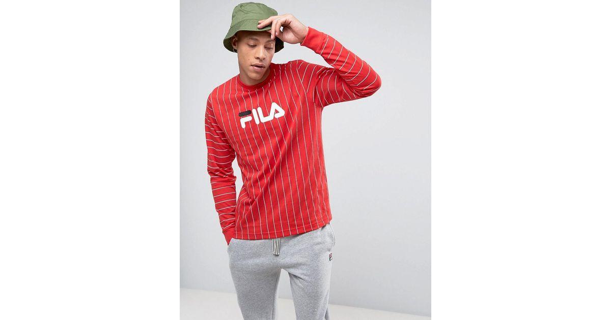 Lyst Fila Black Long Sleeve Stripe T Shirt In Red For Men
