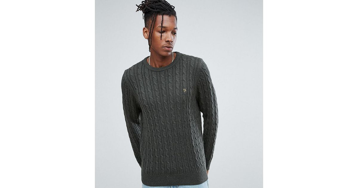 40a826c26d6 Farah - Ludwig Cable Knit Jumper In Green Marl for Men - Lyst