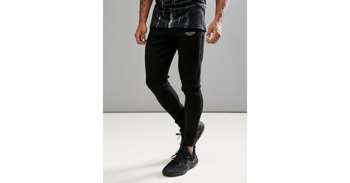 Lyst - Muscle Monkey Skinny Joggers In Black With Reflective Logo in Black  for Men a50a40be1b0bc