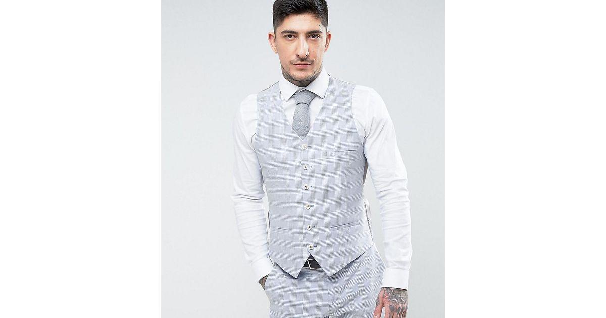 Lyst - Heart & Dagger Summer Wedding Slim Suit Vest In Linen Check ...
