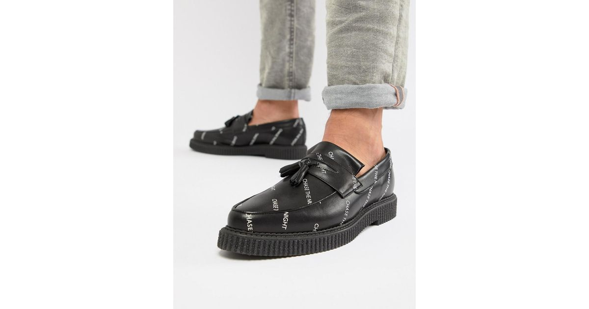 DESIGN Creeper Loafers In Black Leather With And Chase The Night Print - Black Asos Good Selling Online Get To Buy Online Discount Largest Supplier Outlet Sast Buy Cheap Very Cheap EPupLALXNb