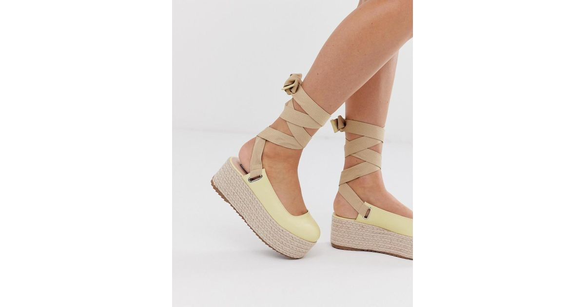 c6e9b15c476 Lost Ink Yellow Lace Up Espadrille Platform Heeled Sandal In Lemon
