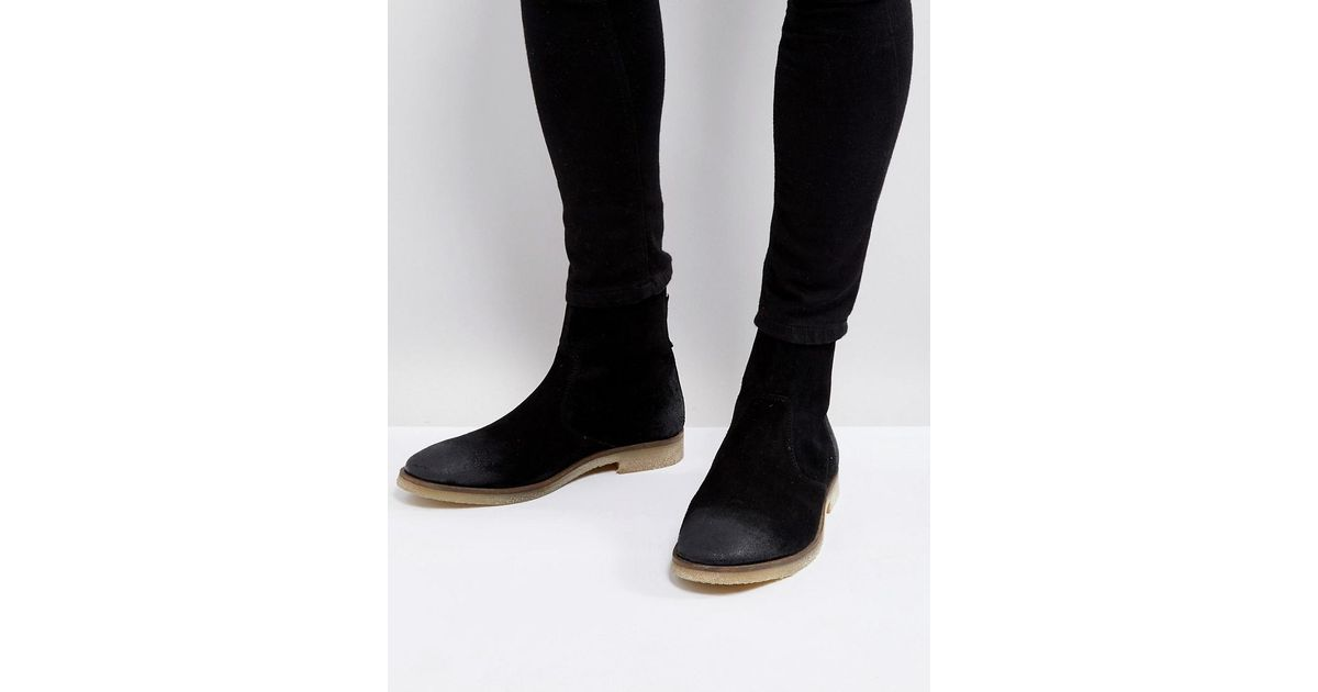 6798b234a41 ASOS Asos Chelsea Boots In Black Suede With Back Zip Detail With Natural  Sole for men