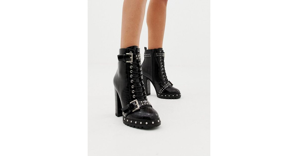 d6c0abb124d PRETTYLITTLETHING Lace Up Heeled Croc Boots In Black