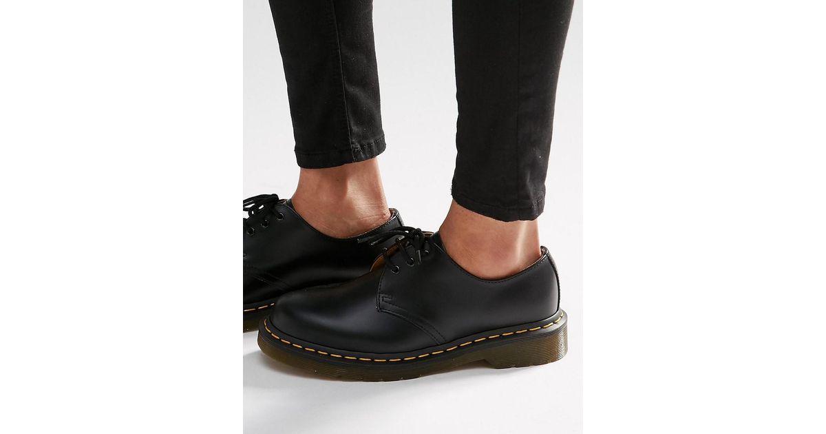 6d638d255b6 Dr. Martens Black 1461 3-eye Gibson Flat Shoes