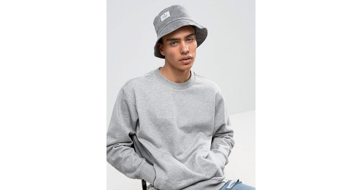 12213172 ASOS Distressed Bucket Hat In Charcoal in Gray for Men - Lyst