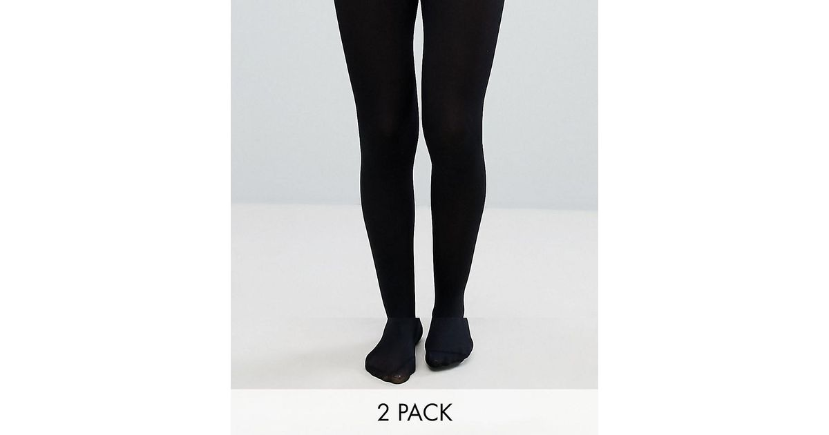 678b81968 Lyst - ASOS 2 Pack 80 Denier Tights In Recycled Nylon in Black
