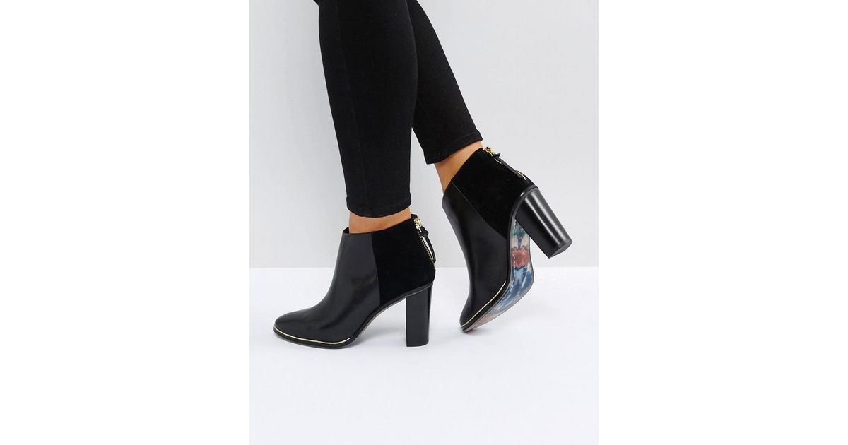 0d969981d66 Ted Baker Azaila Black Leather Heeled Ankle Boots