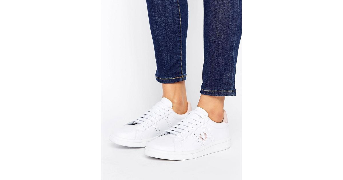 7b8275f02c5b4 Fred Perry White And Pink Leather Sneakers