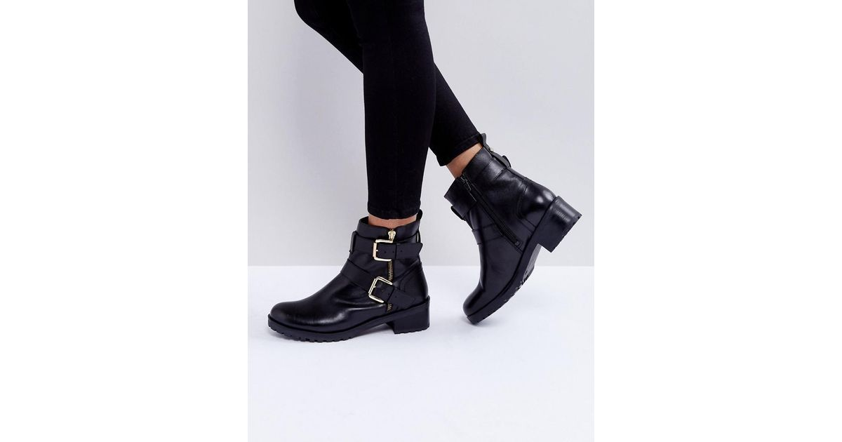 Faith Betsy Leather Biker Boots In Black Lyst