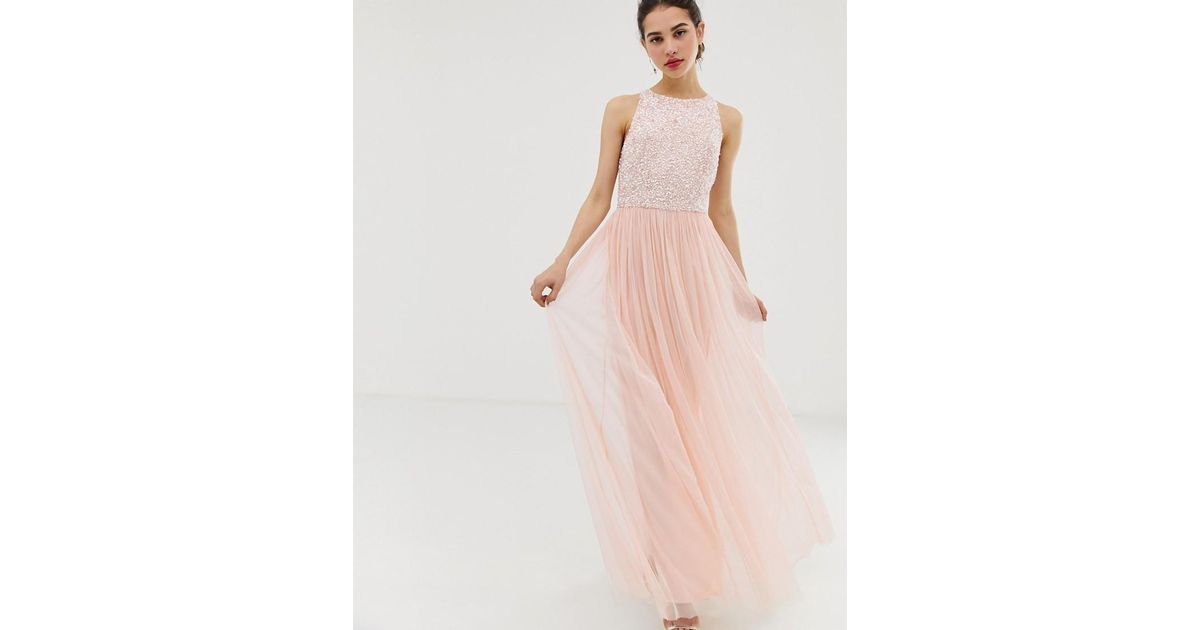d6f488bdcc0649 Angeleye Angel Eye Tulle Maxi Dress With Embellished Detail in Pink - Lyst