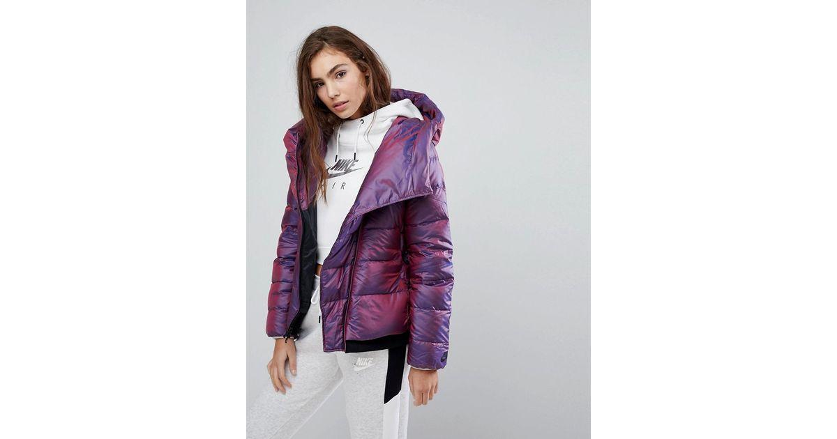 ba53f7439 Nike Down Filled Short Jacket With Asymmetric Zip in Purple - Lyst