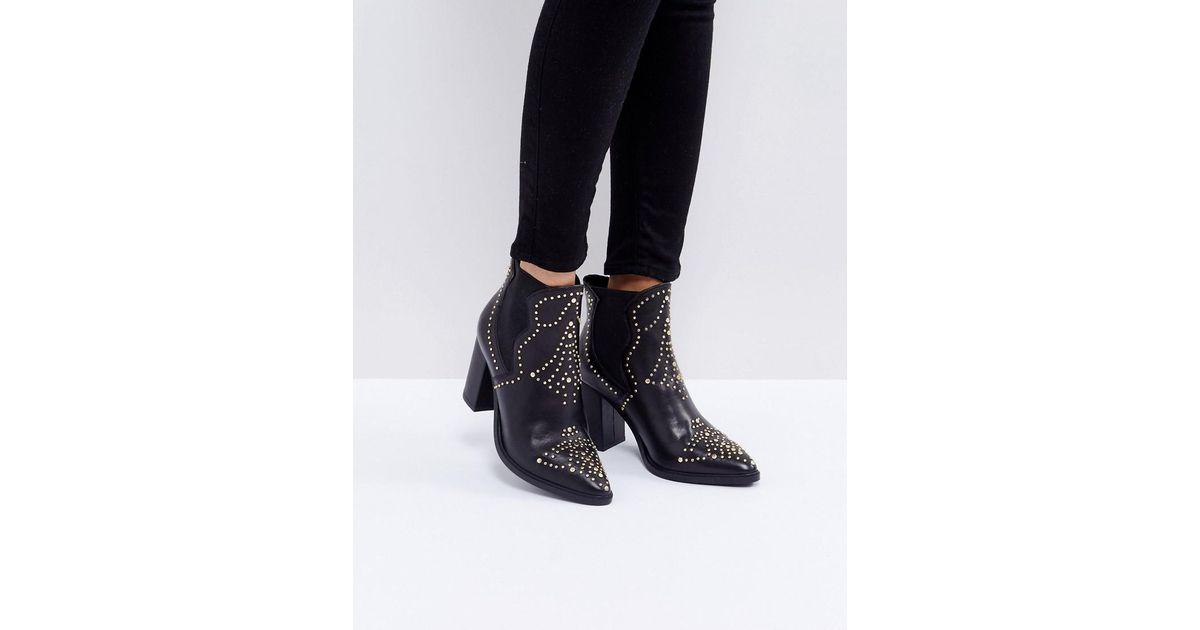 5ef4d9075bd Lyst - Steve Madden Himmel Studded Heeled Boots in Black