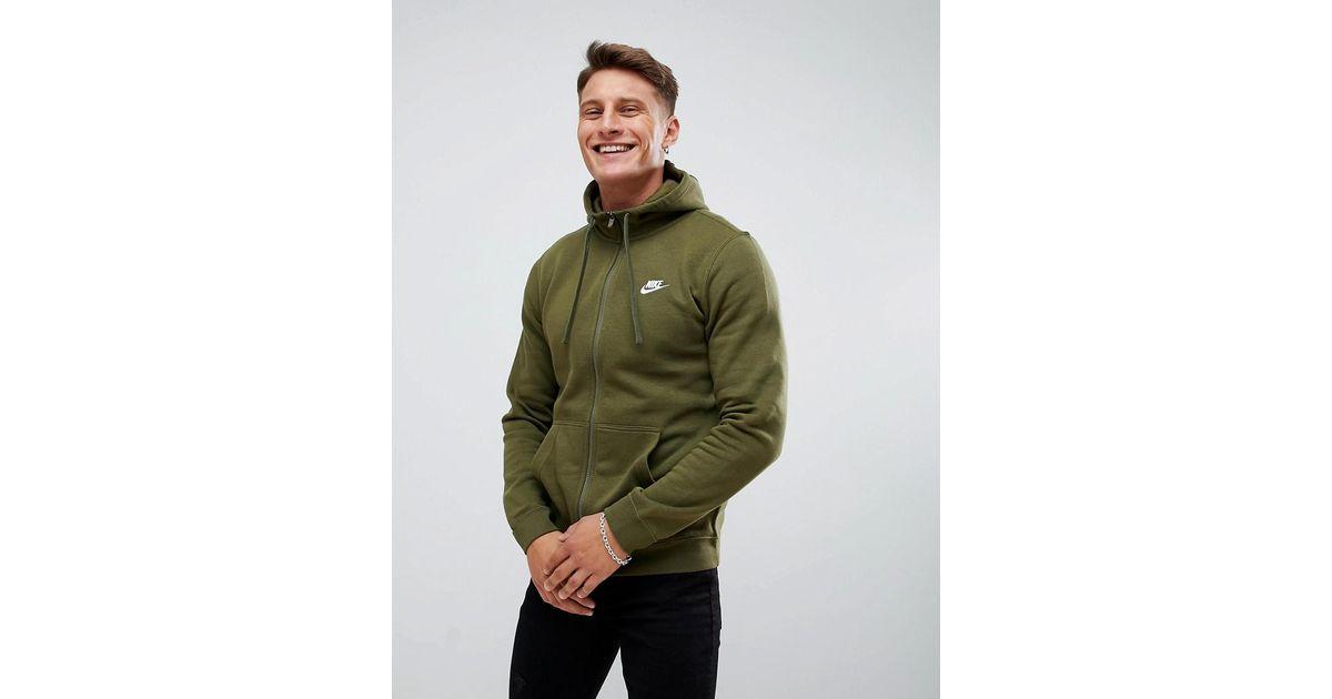 nike club swoosh zip through hoodie in green