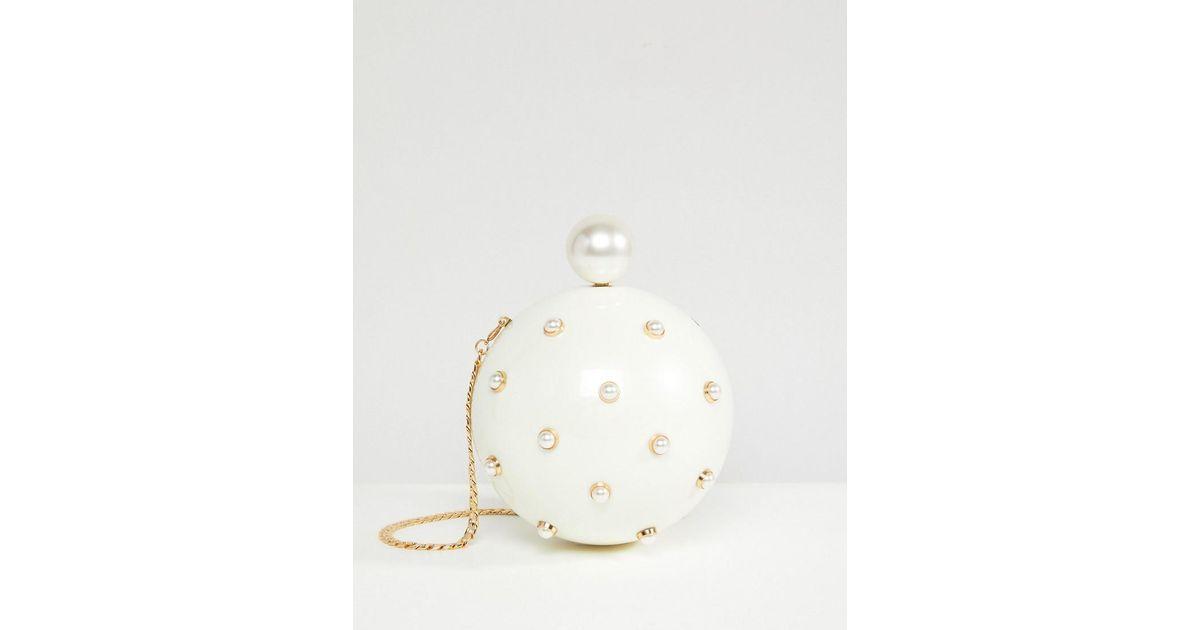 b21437c18b ASOS Pearl Sphere Clutch Bag in White - Lyst