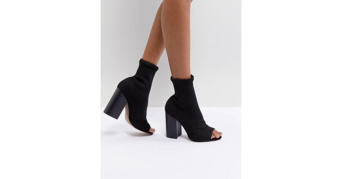 ASOS DESIGN Even Knit Peep Toe Heeled Boots i2tjdd1rC