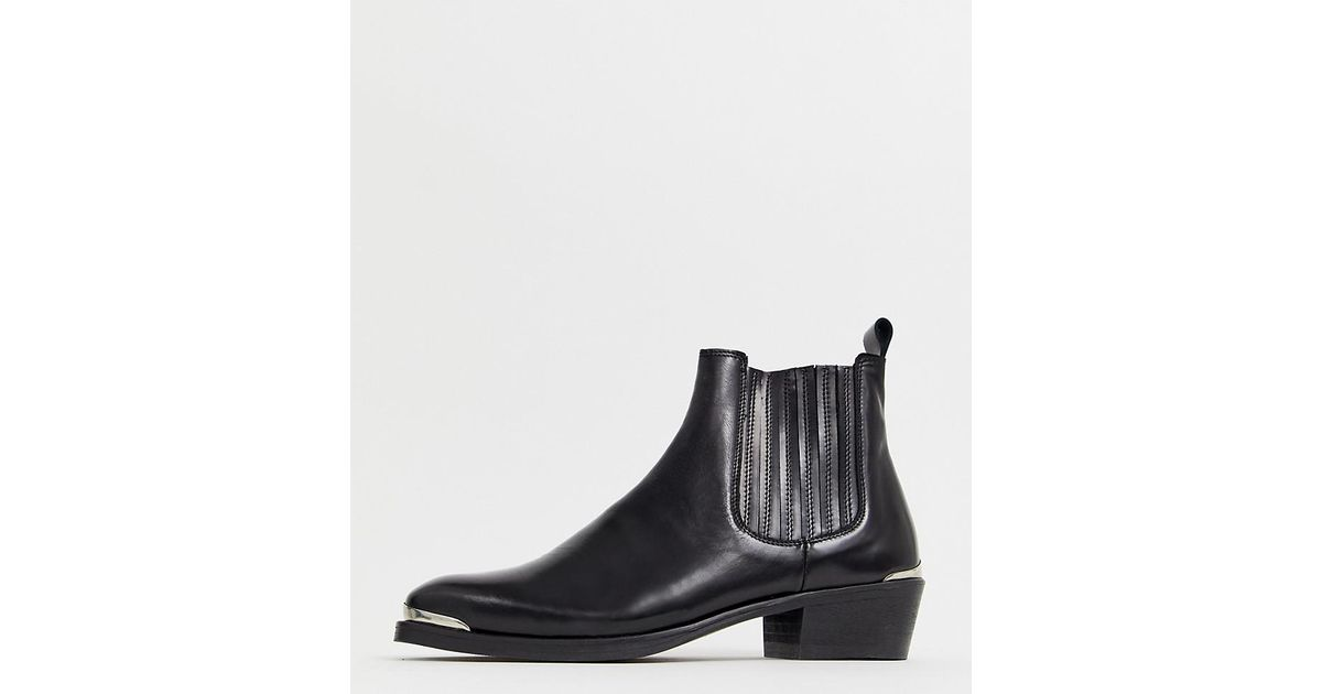 e5e3cff558d ASOS Stacked Heel Western Chelsea Boots In Black Leather With Metal Details  in Black for Men - Lyst