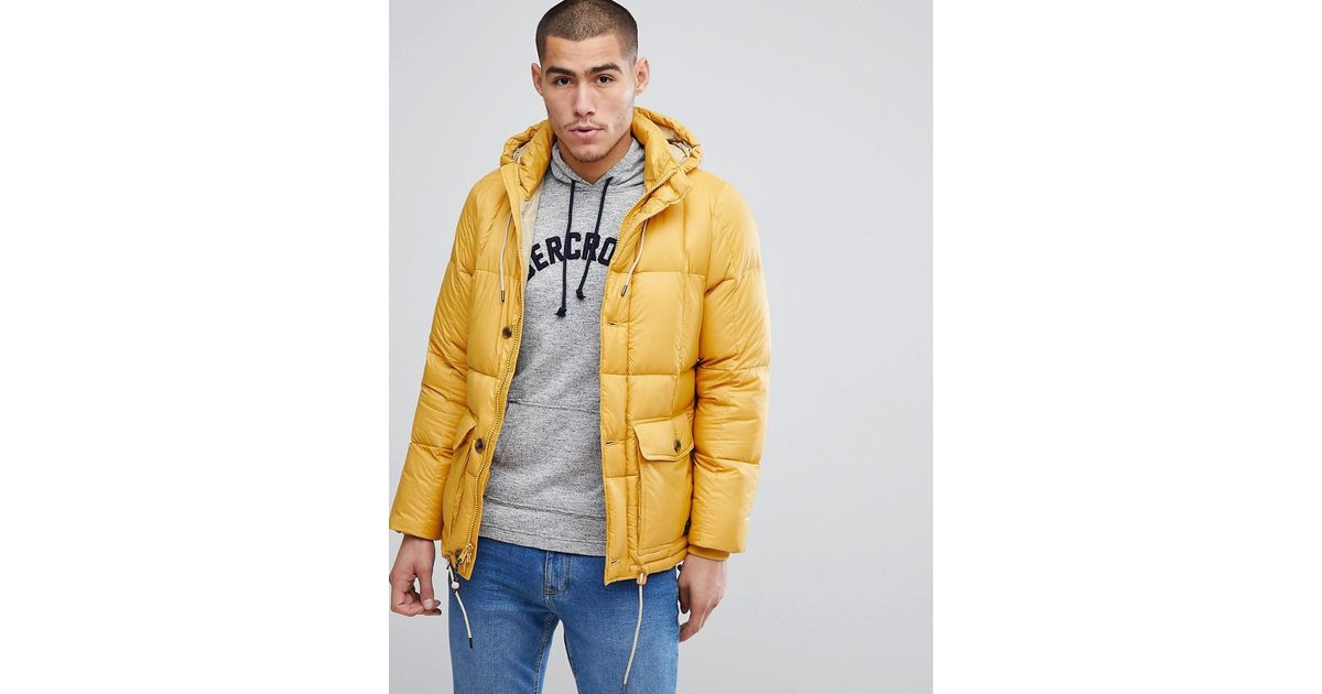 0b5852ba8 Abercrombie & Fitch Puffer Jacket Hooded In Yellow for men