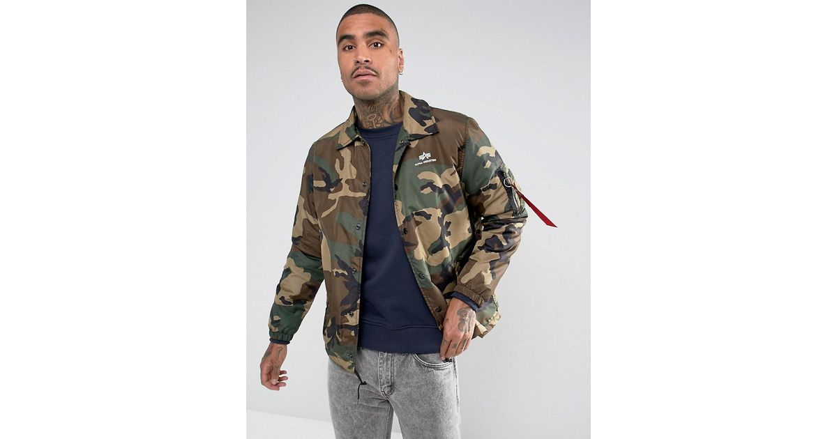 reputable site ea8a6 2159f Alpha Industries Insulated Coach Jacket In Camo Green for men