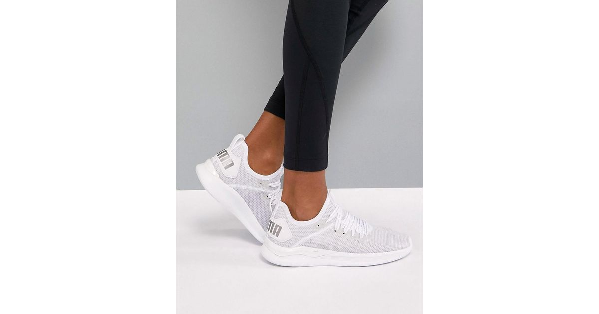 check out 48fca 10856 PUMA Running Ignite Flash Evoknit Trainers In White