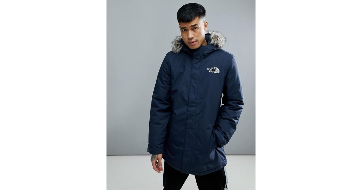 e8a44a1c4 The North Face Blue Zaneck Detachable Faux Fur Hood Jacket In Navy for men