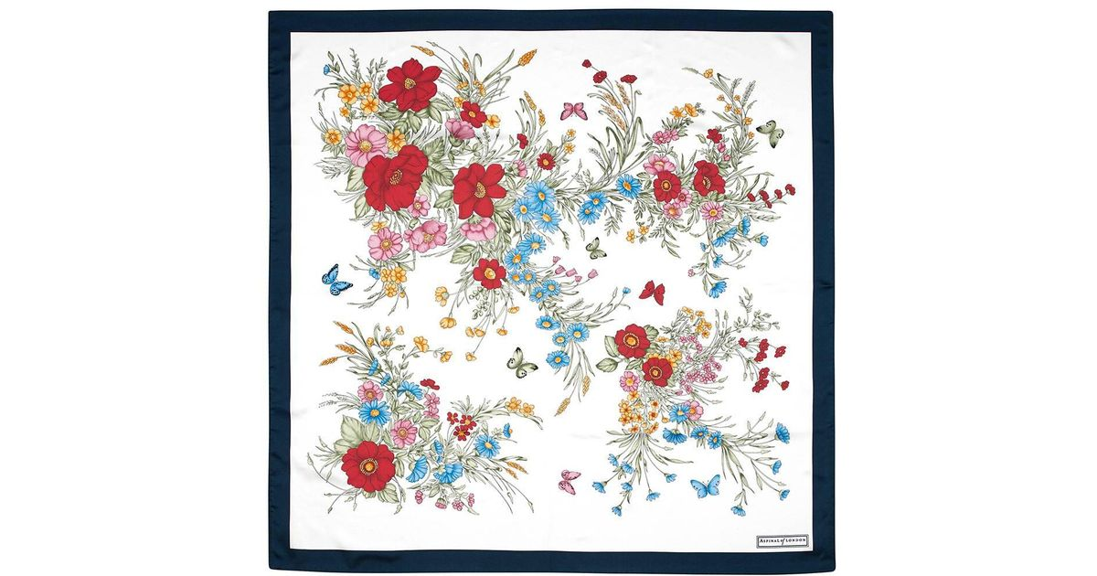 073f2ea4b Lyst - Aspinal of London The Bouquet Of Flowers Silk Scarf in Blue