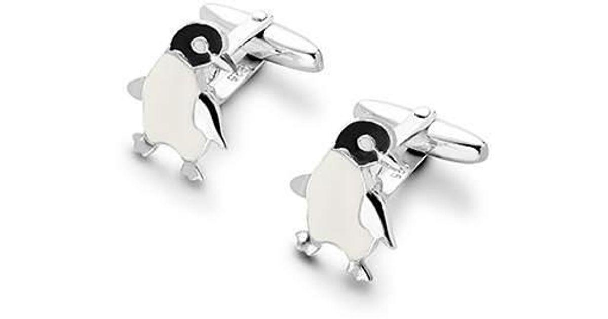 Sterling Silver Enamel Penguin Cufflinks