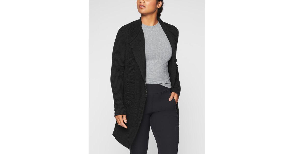 6e4ca0fc60cfc Lyst - Athleta Sentinel Sweater Wrap in Black