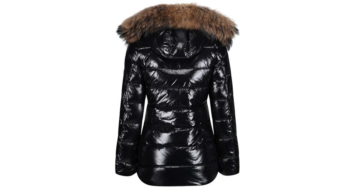 2df464d242c Pyrenex Black Women's Authentic Shiny Fur Mid Length Down Jacket