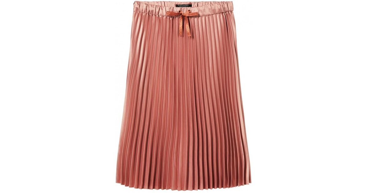 8e83878d5 Lyst - Maison Scotch Shiny Pleated Skirt Pink in Pink