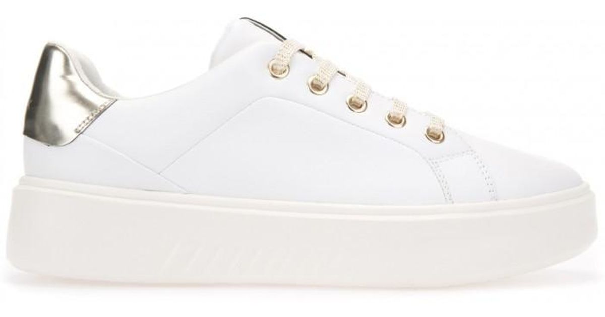 pretty nice d7fad e2b3a Geox White Women's Nhenbus Gold Detail Leather Trainers