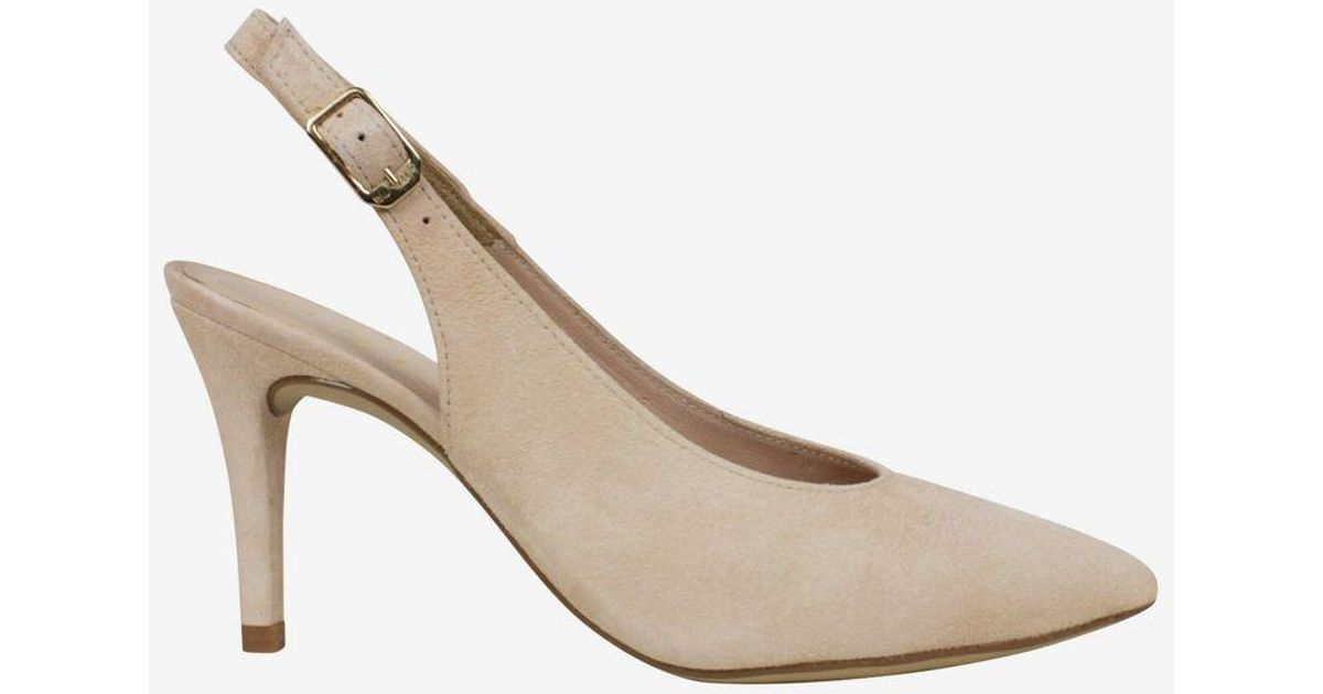 Unisa Cream Slingback Suede Shoes in