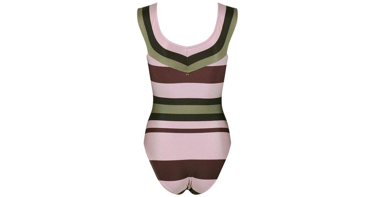9d0b16667 Lyst - Ted Baker Women s Terala Imperial Stripe Bardot Swimsuit in Pink
