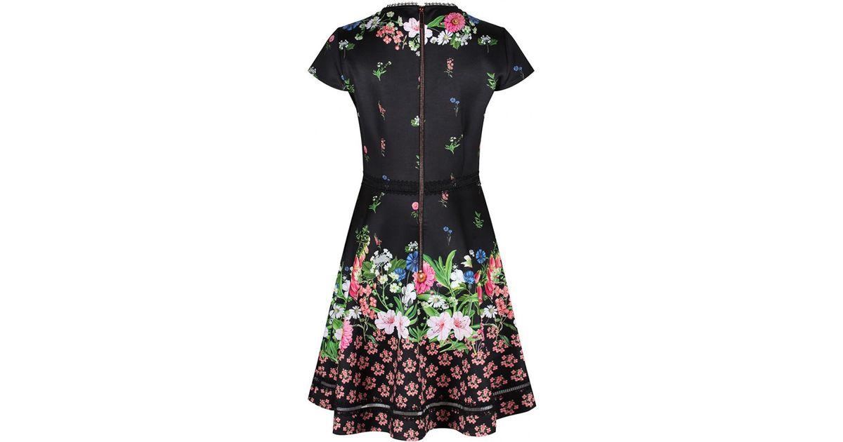 Ted Baker Daissie Floral Skater Dress in Black - Lyst b2c73b629