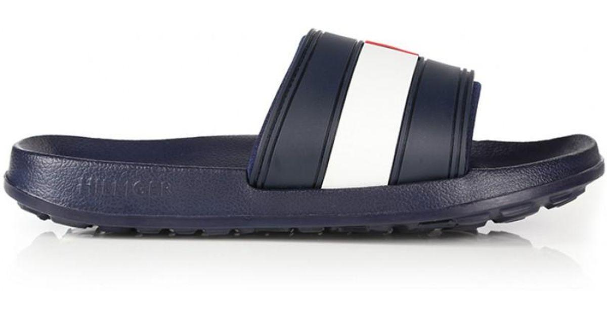 e979c734b788 Tommy Hilfiger Men s Splash Logo Slider Sandals in Blue for Men - Lyst