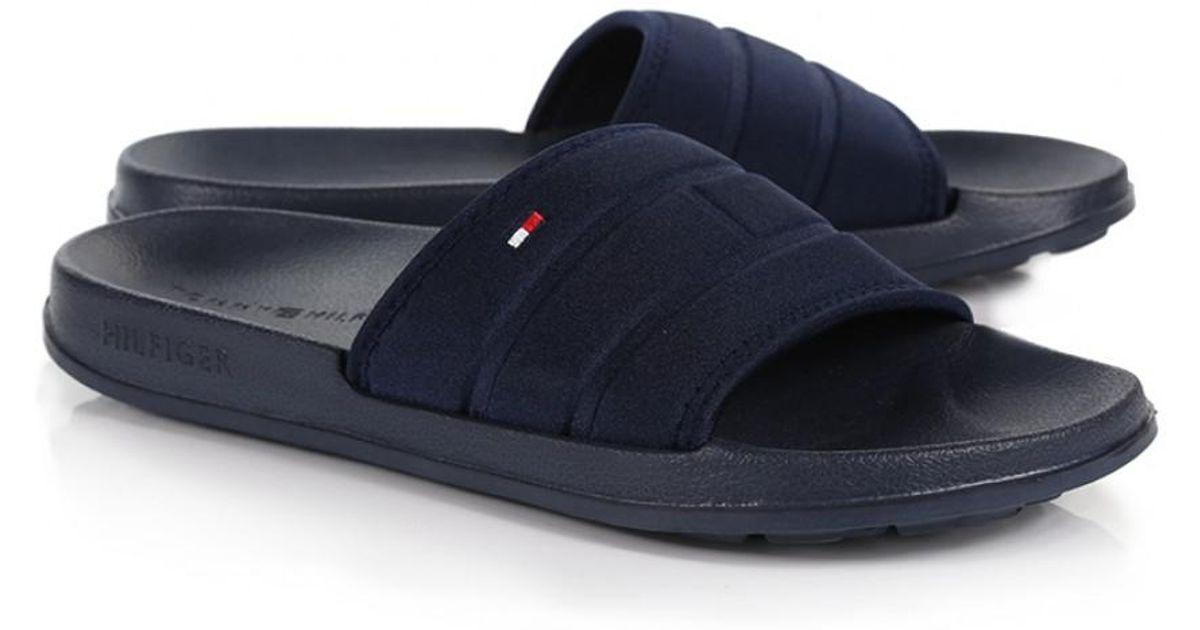 ce9f7f436 Lyst - Tommy Hilfiger Men s Corporate Flag Pool Slide Flip Flops in Blue  for Men