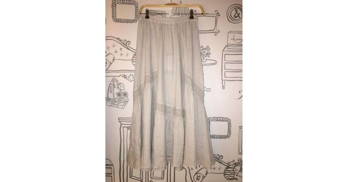2ac207b307 120% Lino Lace Long Skirt In Soft Grey - Lyst