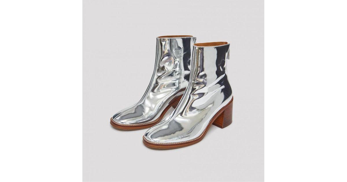 Lyst Miista Cybil Silver Leather Boots In Metallic