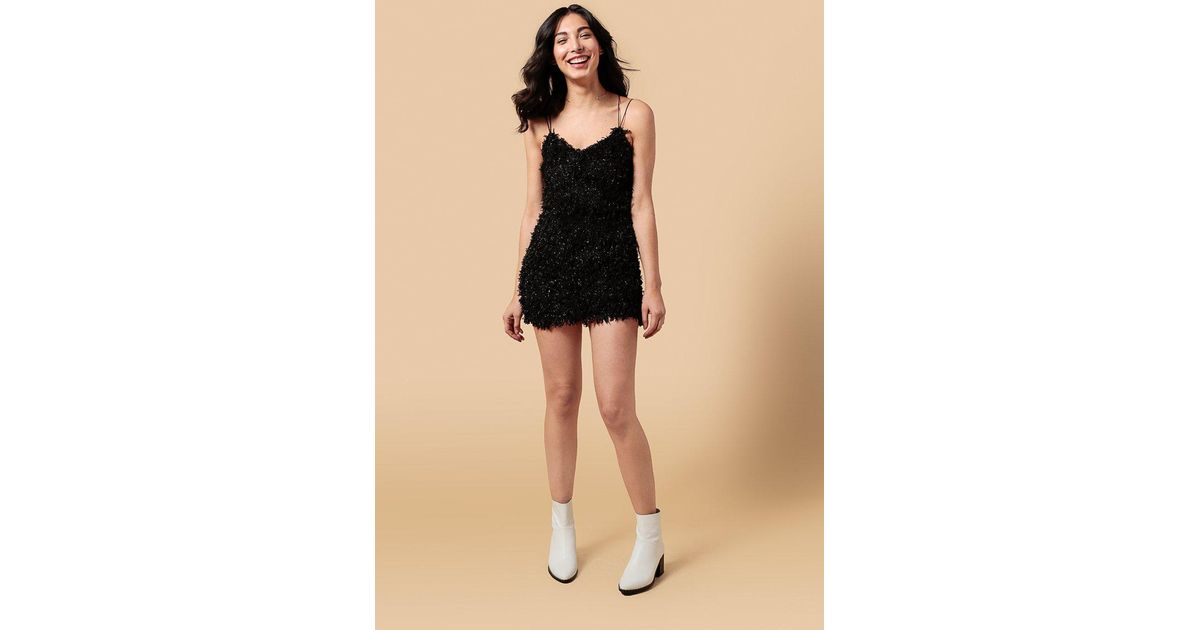 a26a464f43059 Lyst - Azalea Textured Metallic Backstrap Mini Dress in Black
