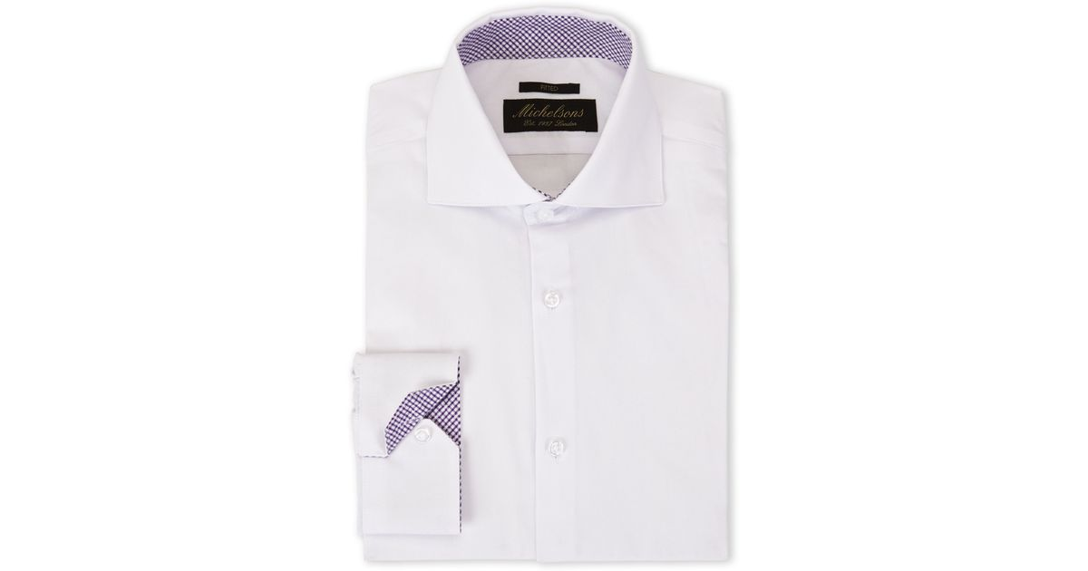 Michelsons Of London White Purple Plaid Fitted Dress