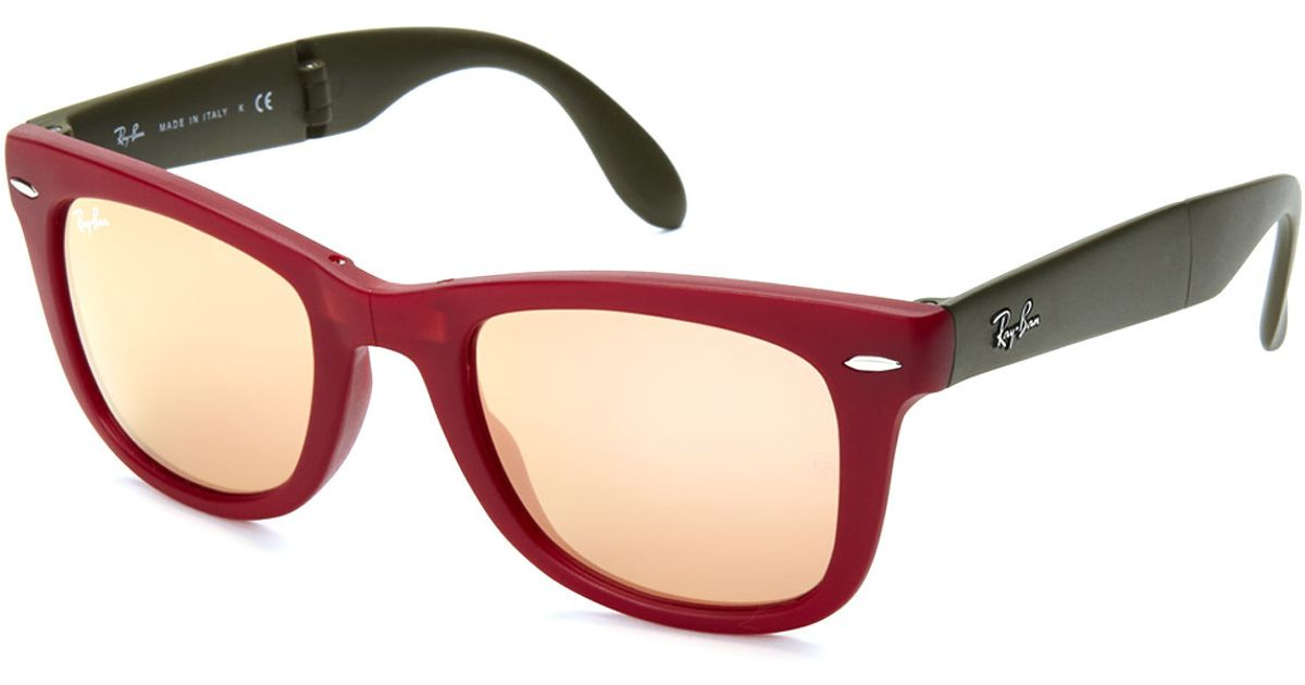 d416410cdde5 ... best price lyst ray ban rb4105 red olive wayfarer folding sunglasses in  red for men d0fc2