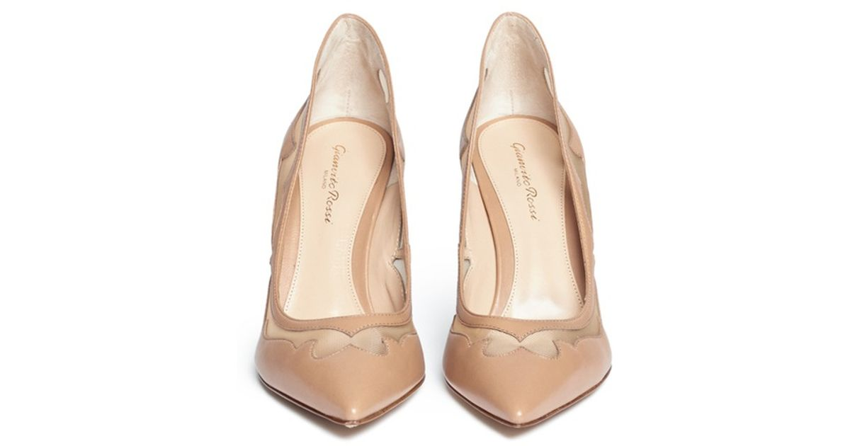 6d6242688069 Lyst - Gianvito Rossi Western Mesh Insert Leather Pumps in Natural