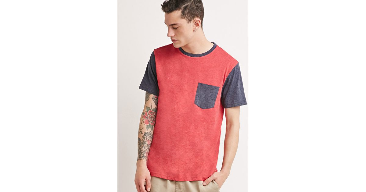 Forever 21 Colorblock Pocket Tee In Red For Men - Lyst Forever 21 Colorblock Pocket Tee in Red for Men - Lyst Red Things red color block