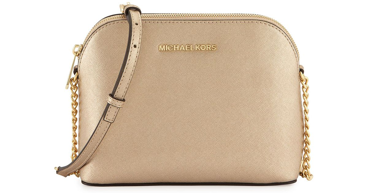e32324a1687d MICHAEL Michael Kors Cindy Large Dome Leather Cross-Body Bag in Metallic -  Lyst