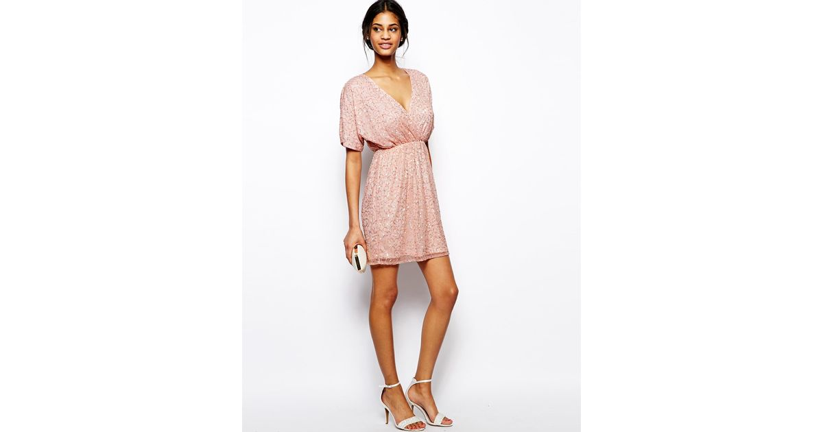 Lyst - Asos Sequin Kimono Mini Dress in Pink