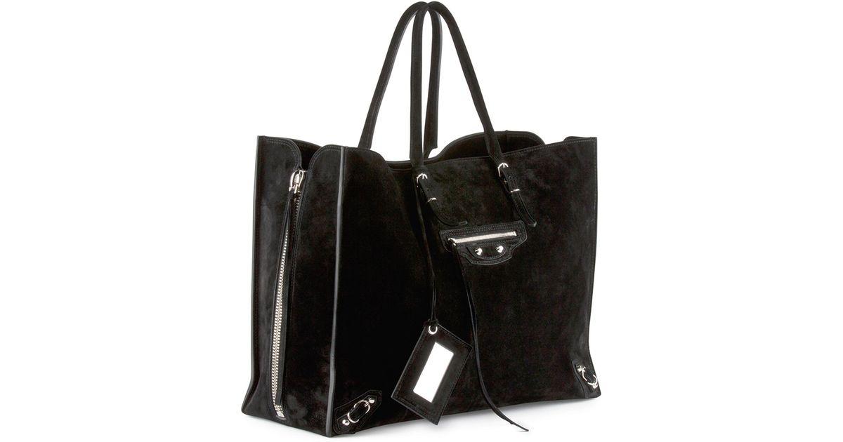 1d63e648481 Balenciaga Papier A4 Side Zip Suede Tote Bag in Black - Lyst