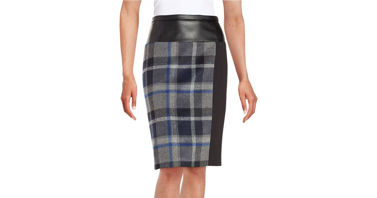Calvin klein Plaid Faux Leather Pencil Skirt