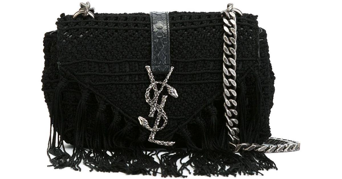 yves st laurent bracelet - monogram fringe beaded pouch, black