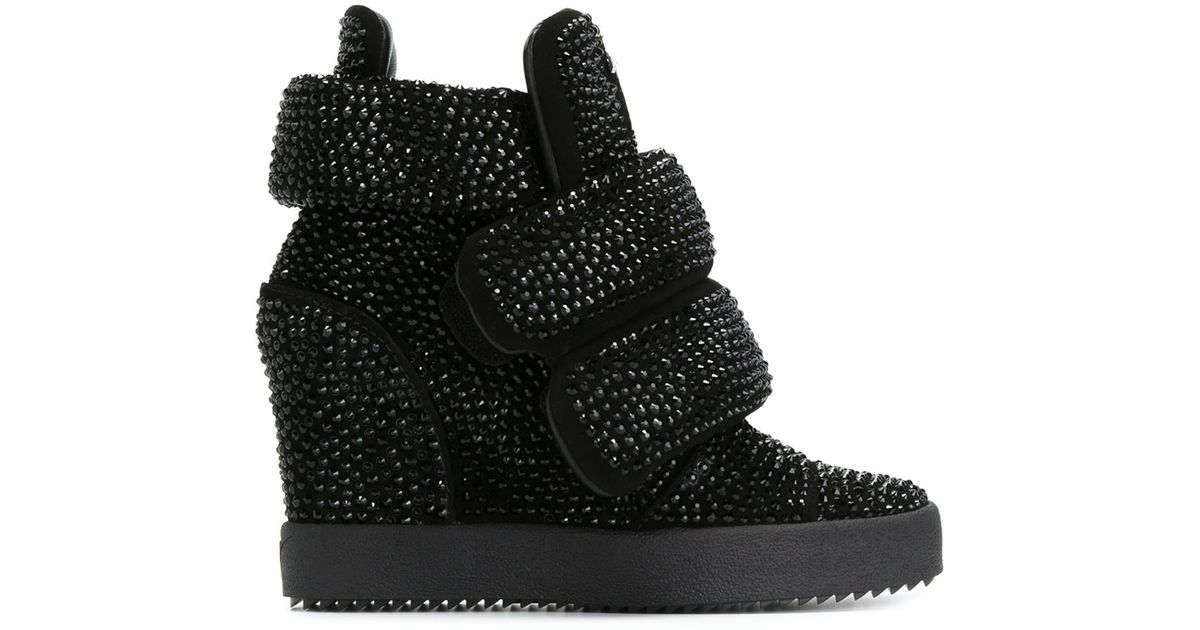 f4e82cc168f51 Giuseppe Zanotti Hi-top Sneakers With Rhinestones in Black - Lyst