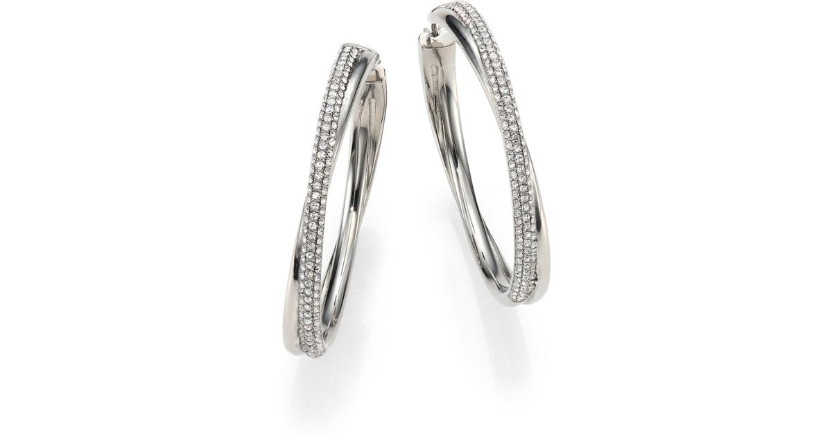 acc08d282 Michael Kors Brilliance Statement Pave Crossover Silvertone Hoop Earrings/1.75  in Metallic - Lyst